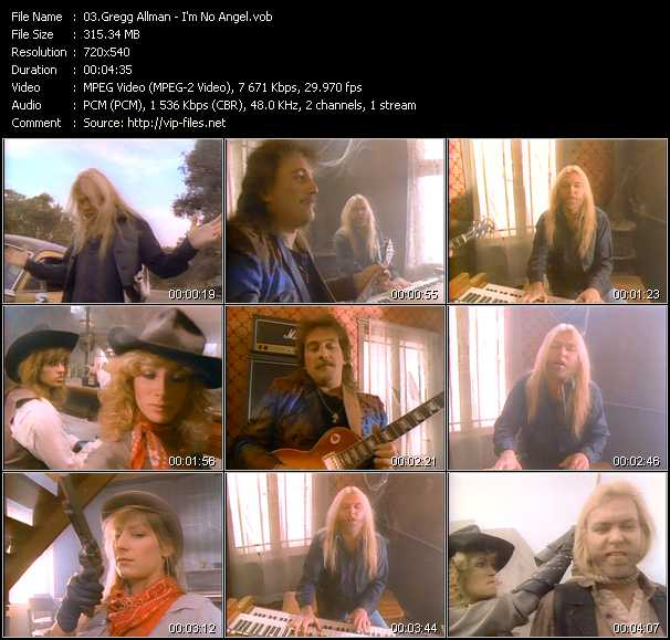 Screenshot of Music Video Gregg Allman - I'm No Angel