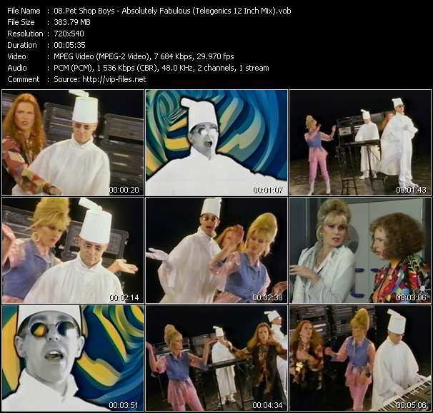 Screenshot of Music Video Pet Shop Boys - Absolutely Fabulous (Telegenics 12 Inch Mix)