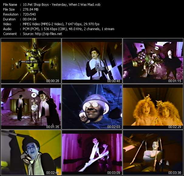 Screenshot of Music Video Pet Shop Boys - Yesterday, When I Was Mad