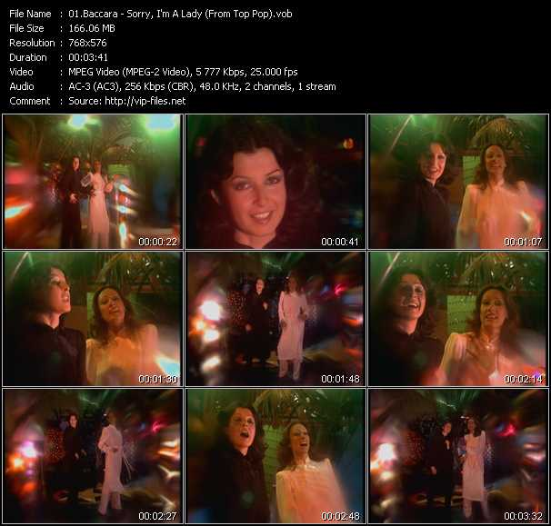 Screenshot of Music Video Baccara - Sorry, I'm A Lady (From Top Pop)