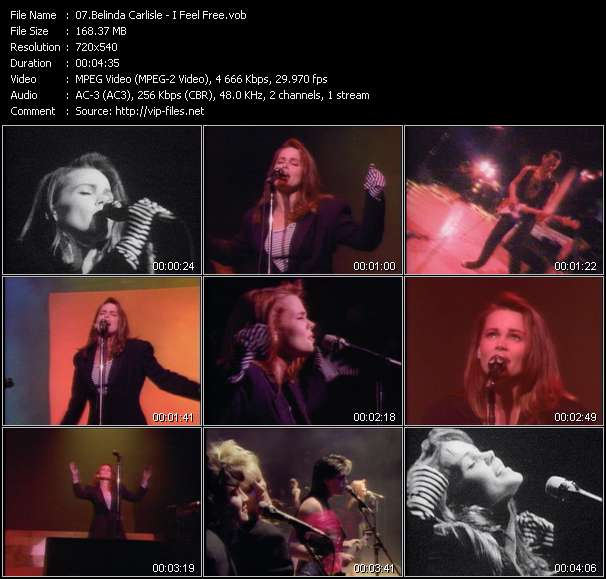 Screenshot of Music Video Belinda Carlisle - I Feel Free