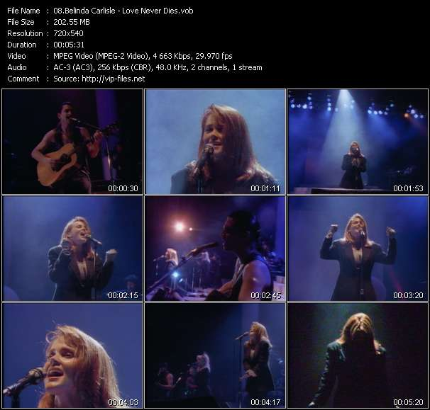 Screenshot of Music Video Belinda Carlisle - Love Never Dies