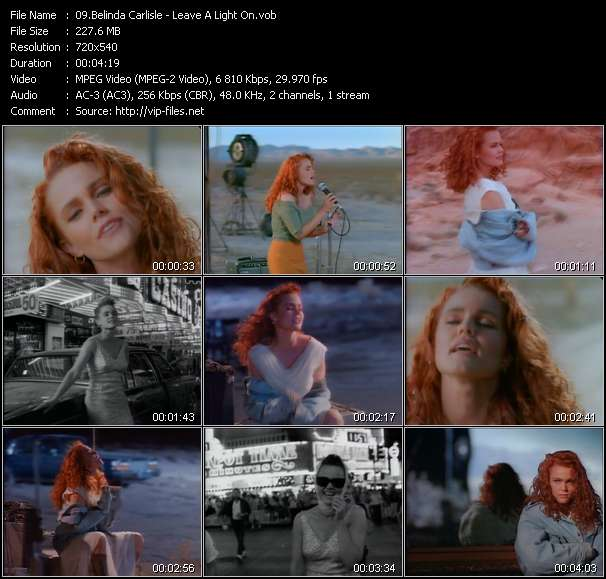 Screenshot of Music Video Belinda Carlisle - Leave A Light On