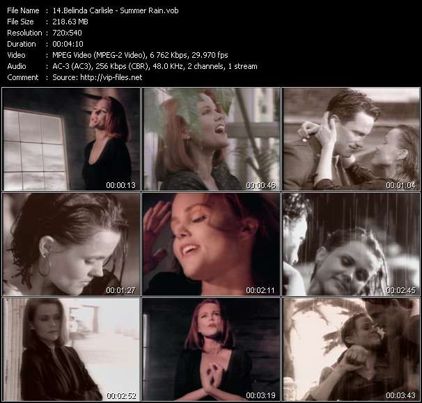 Screenshot of Music Video Belinda Carlisle - Summer Rain