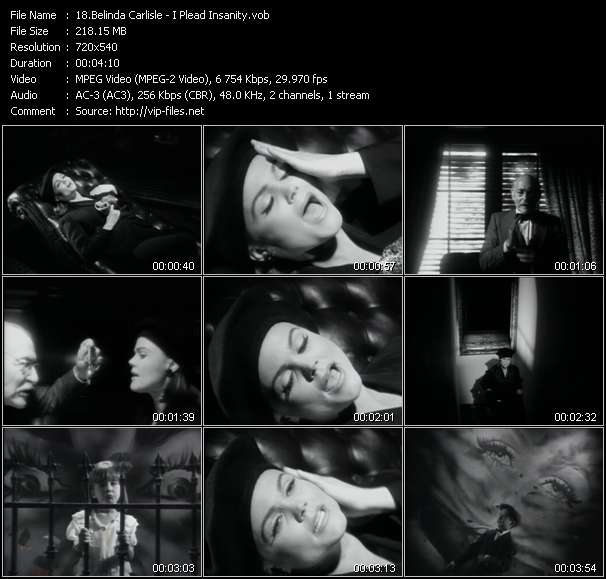 Screenshot of Music Video Belinda Carlisle - I Plead Insanity