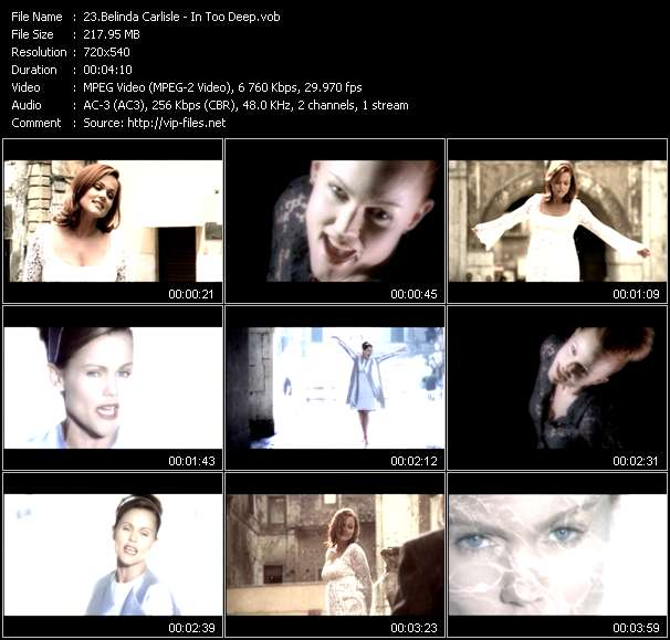 Screenshot of Music Video Belinda Carlisle - In Too Deep