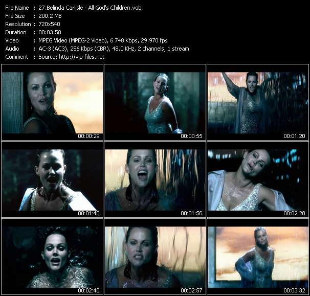 Screenshot of Music Video Belinda Carlisle - All God's Children