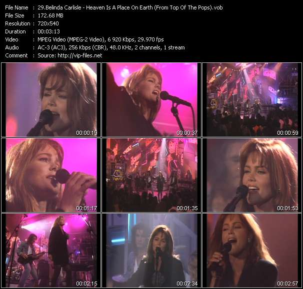 Screenshot of Music Video Belinda Carlisle - Heaven Is A Place On Earth (From Top Of The Pops)
