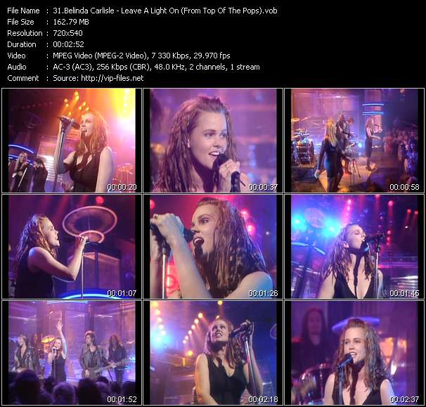 Screenshot of Music Video Belinda Carlisle - Leave A Light On (From Top Of The Pops)