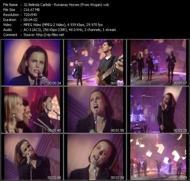 Screenshot of Music Video Belinda Carlisle - Runaway Horses (From Wogan)