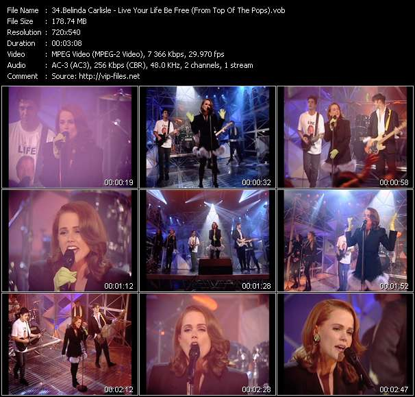 Screenshot of Music Video Belinda Carlisle - Live Your Life Be Free (From Top Of The Pops)