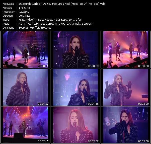 Screenshot of Music Video Belinda Carlisle - Do You Feel Like I Feel (From Top Of The Pops)