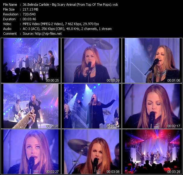 Screenshot of Music Video Belinda Carlisle - Big Scary Animal (From Top Of The Pops)