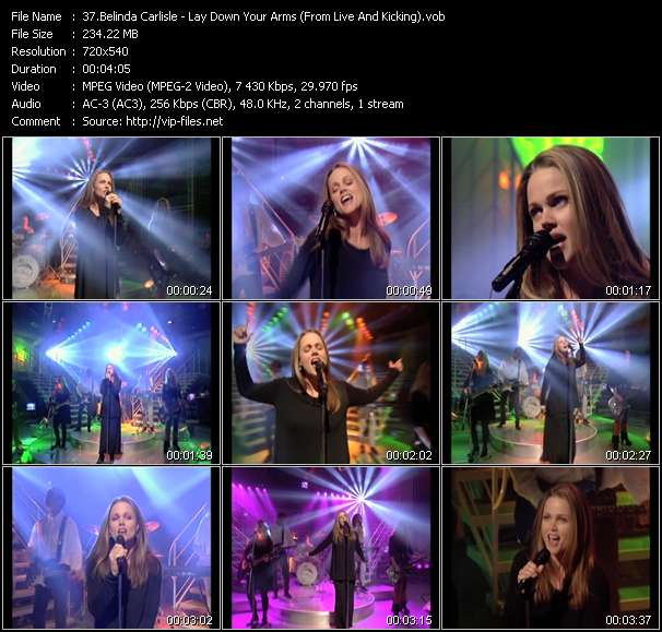 Screenshot of Music Video Belinda Carlisle - Lay Down Your Arms (From Live And Kicking)