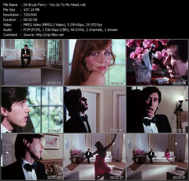 Screenshot of Music Video Bryan Ferry - You Go To My Head