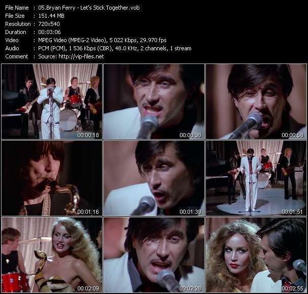 Screenshot of Music Video Bryan Ferry - Let's Stick Together