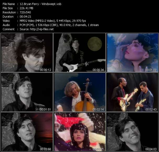 Screenshot of Music Video Bryan Ferry - Windswept
