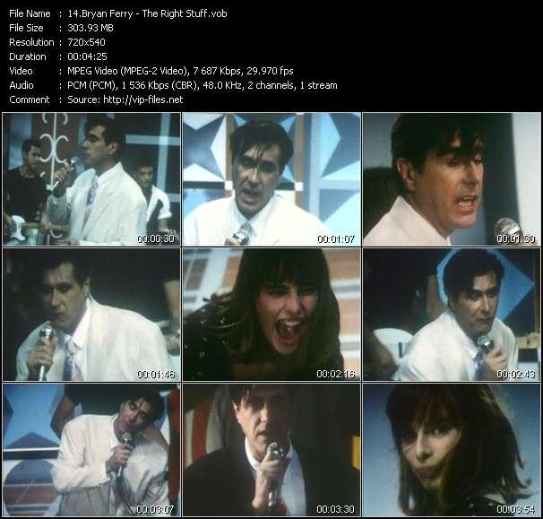 Screenshot of Music Video Bryan Ferry - The Right Stuff
