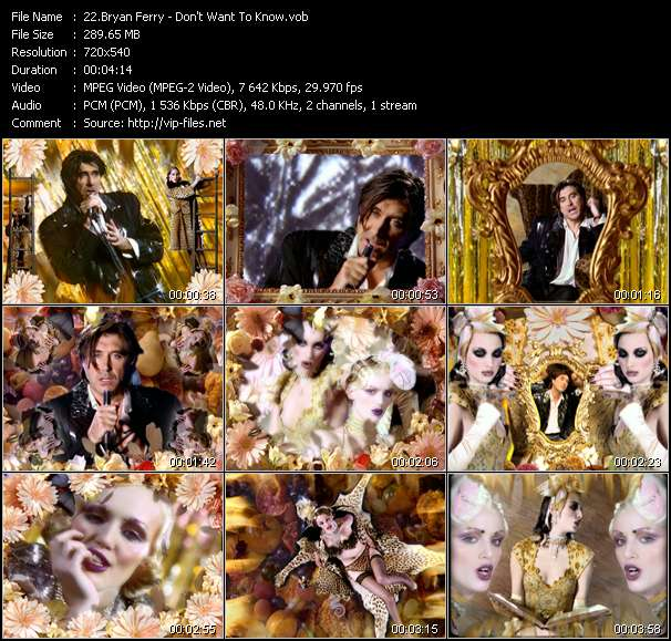 Screenshot of Music Video Bryan Ferry - Don't Want To Know