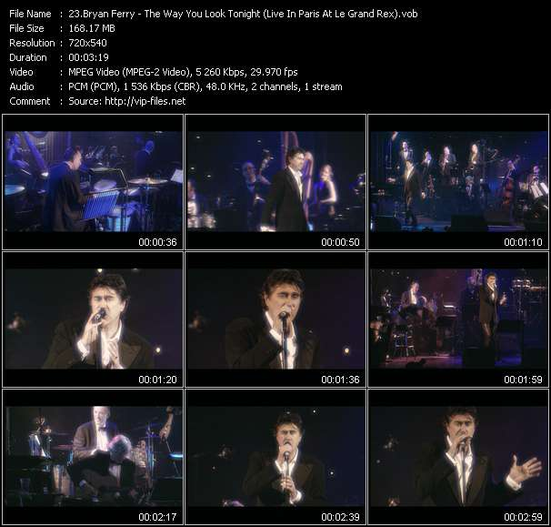 Screenshot of Music Video Bryan Ferry - The Way You Look Tonight (Live In Paris At Le Grand Rex)