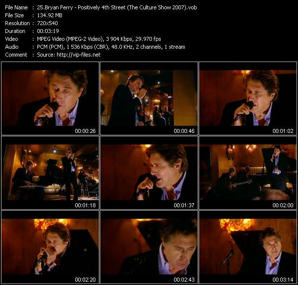 Screenshot of Music Video Bryan Ferry - Positively 4th Street (The Culture Show 2007)