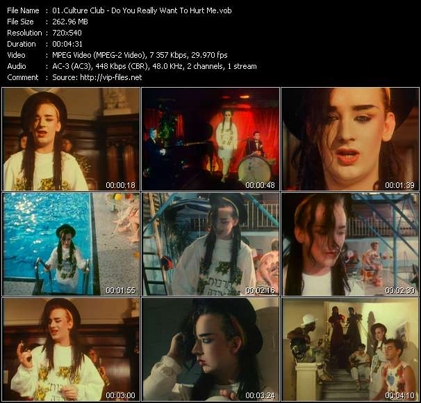 Screenshot of Music Video Culture Club - Do You Really Want To Hurt Me?