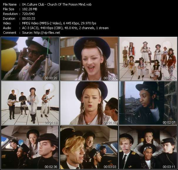Screenshot of Music Video Culture Club - Church Of The Poison Mind