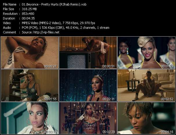 Screenshot of Music Video Beyonce - Pretty Hurts (R3hab Remix)