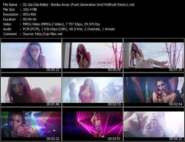 Screenshot of Music Video Gia (Gia Bella) - Bombs Away (Funk Generation And H3dRush Remix)