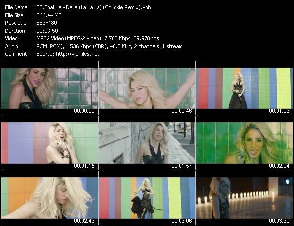 Screenshot of Music Video Shakira - Dare (La La La) (Chuckie Remix)