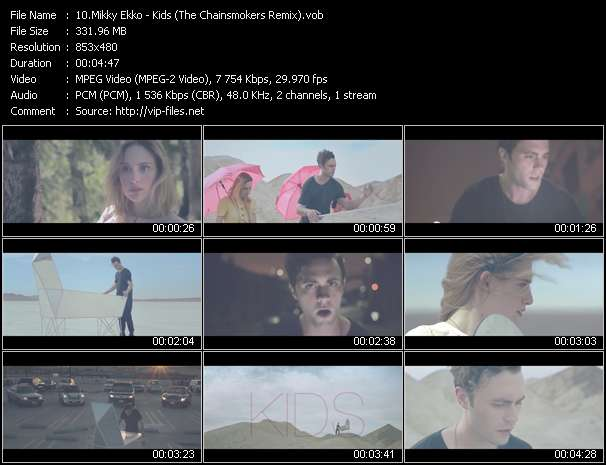 Screenshot of Music Video Mikky Ekko - Kids (The Chainsmokers Remix)