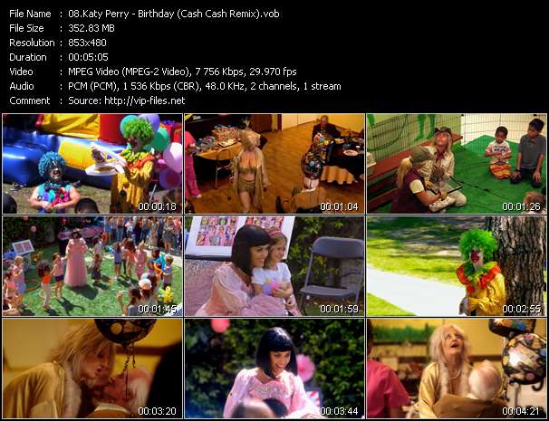 Screenshot of Music Video Katy Perry - Birthday (Cash Cash Remix)