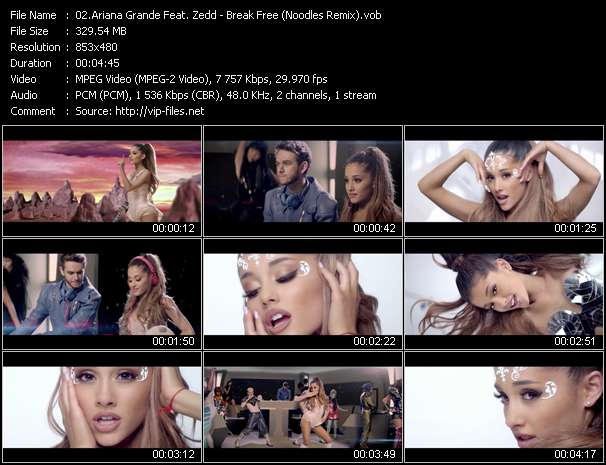 Screenshot of Music Video Ariana Grande Feat. Zedd - Break Free (Noodles Remix)