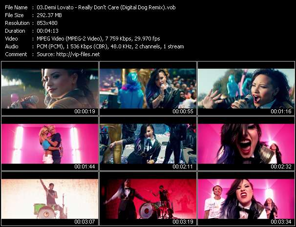 Screenshot of Music Video Demi Lovato - Really Don't Care (Digital Dog Remix)