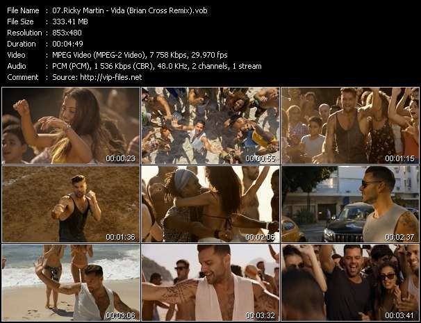 Screenshot of Music Video Ricky Martin - Vida (Brian Cross Remix)