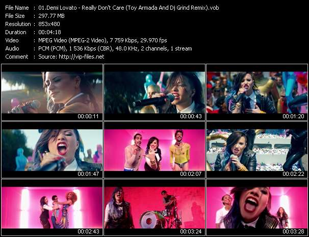 Screenshot of Music Video Demi Lovato - Really Don't Care (Toy Armada And Dj Grind Remix)