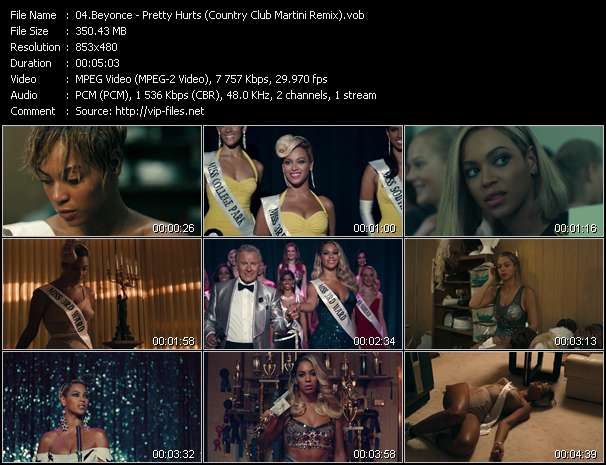 Screenshot of Music Video Beyonce - Pretty Hurts (Country Club Martini Remix)