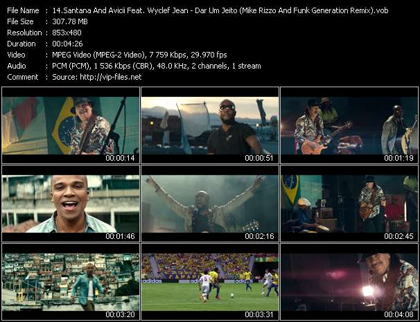 Screenshot of Music Video Santana And Avicii Feat. Wyclef Jean And Alexandre Pires - Dar Um Jeito (We Will Find A Way) (Mike Rizzo And Funk Generation Remix)