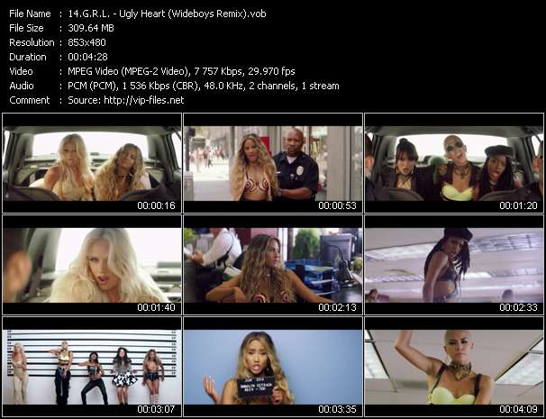 Screenshot of Music Video G.R.L. - Ugly Heart (Wideboys Remix)