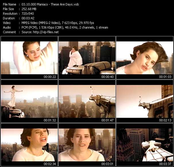Screenshot of Music Video 10.000 Maniacs - These Are Days