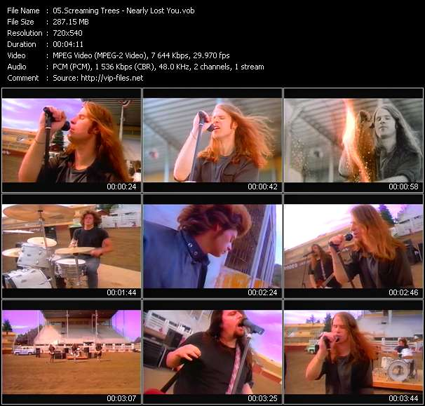 Screenshot of Music Video Screaming Trees - Nearly Lost You