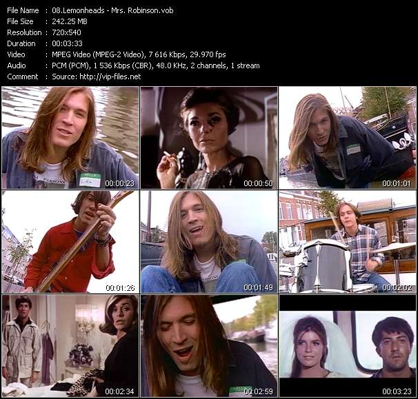 Screenshot of Music Video Lemonheads - Mrs. Robinson