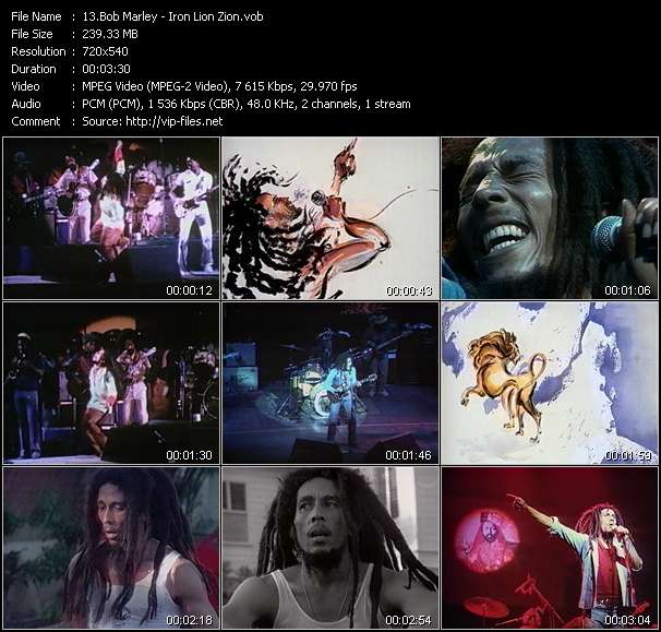 Screenshot of Music Video Bob Marley - Iron Lion Zion