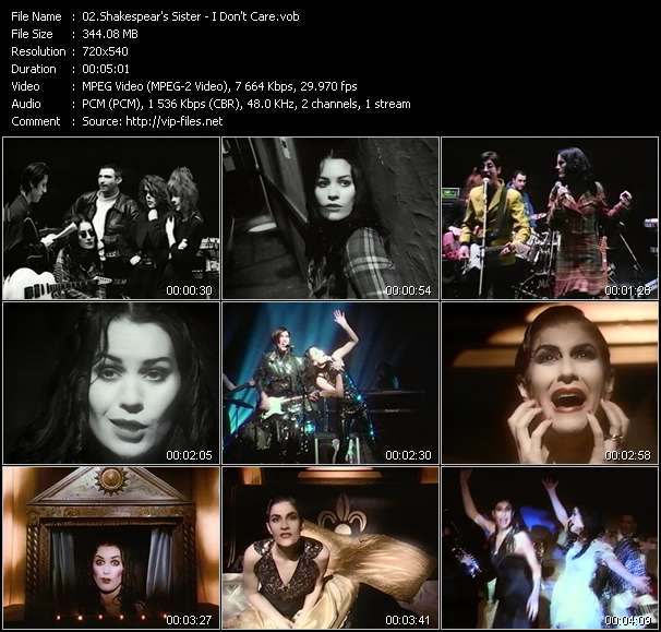Screenshot of Music Video Shakespear's Sister - I Don't Care