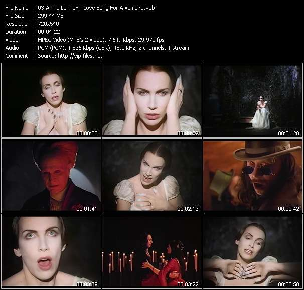 Screenshot of Music Video Annie Lennox - Love Song For A Vampire