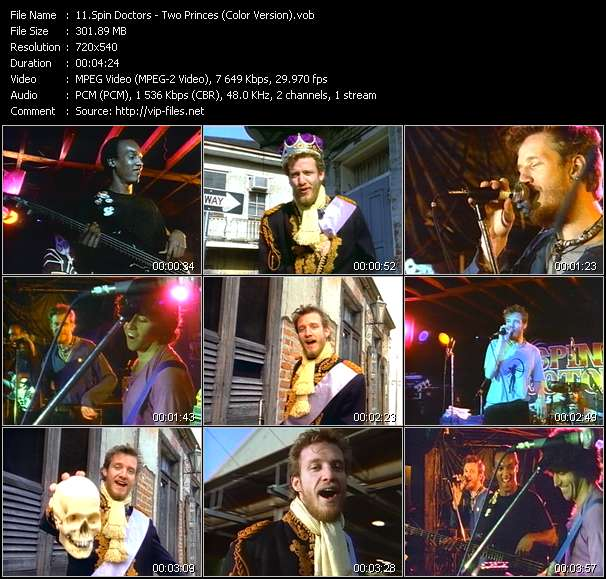 Screenshot of Music Video Spin Doctors - Two Princes (Color Version)