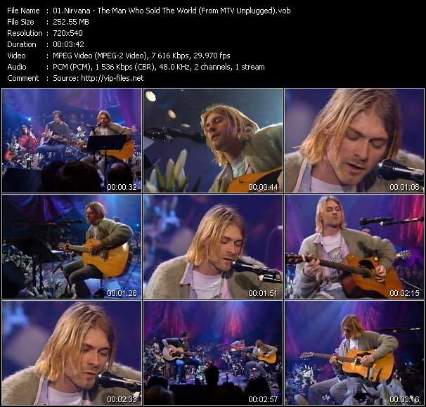 Screenshot of Music Video Nirvana - The Man Who Sold The World (From MTV Unplugged)