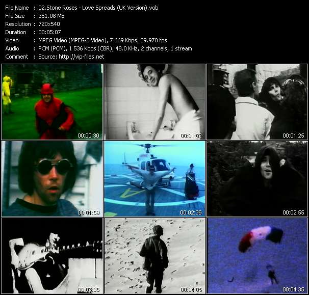 Screenshot of Music Video Stone Roses - Love Spreads (UK Version)
