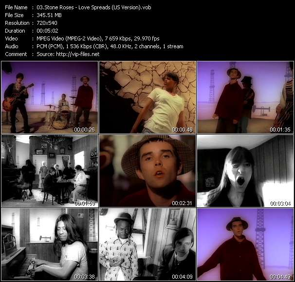 Screenshot of Music Video Stone Roses - Love Spreads (US Version)