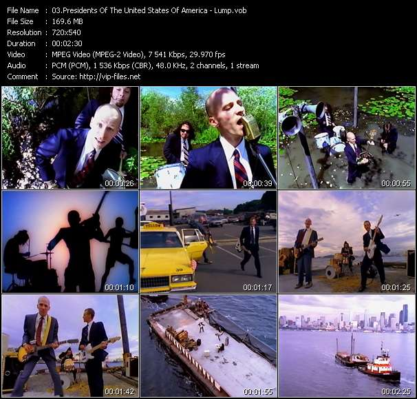Screenshot of Music Video Presidents Of The United States Of America - Lump
